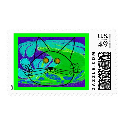 Ocean Fearing Cat Poster --Whimisical Stamps