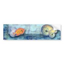 ocean fish seashells island tropical wedding bumper sticker