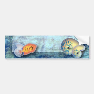 ocean fish seashells island tropical wedding bumper sticker