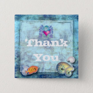 ocean fish seashells island tropical wedding pinback button