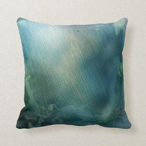 Ocean Floor Dark Blue Anchors coral nautical sea Pillow Zazzle