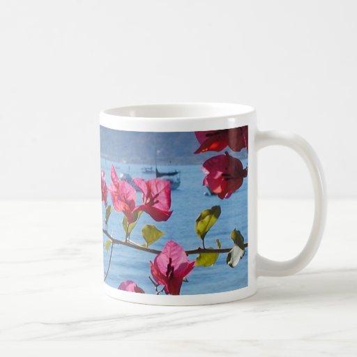 Ocean Flowers Water Boats Beaches Classic White Coffee Mug