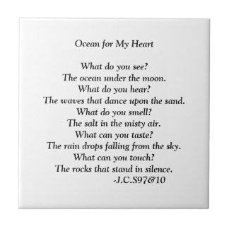 Ocean for my Heart poem. Small Square Tile