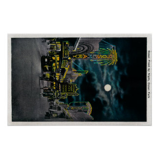 Ocean Front at Night, Ocean Park Poster