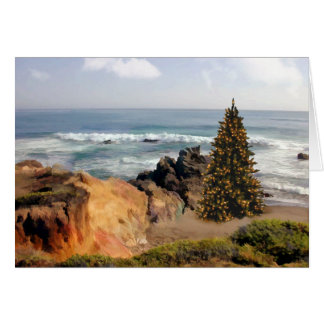 Ocean Front Christmas Tree Card