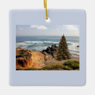 Ocean Front Christmas Tree Ceramic Ornament