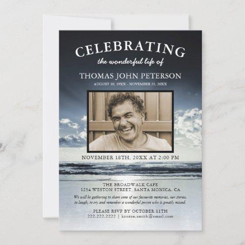 Ocean Funeral  Celebration of Life Photo Invitation