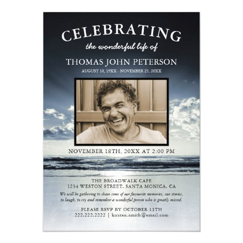 Ocean Funeral  Celebration of Life Photo Invitation
