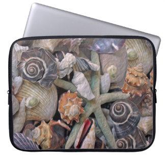 Ocean Gems Seashell Treasures in Magenta Laptop Sleeve