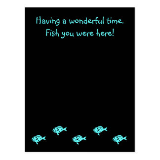 "Ocean Glow_Aqua Blue Grouper ""Fish You Were Here"" Postcard"