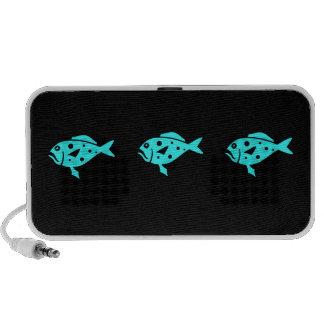 Ocean Glow_Aqua-on-Black_Group of Groupers iPod Speakers