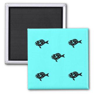 Ocean Glow_Black-on-Aqua Blue Grouper Fridge Magnets
