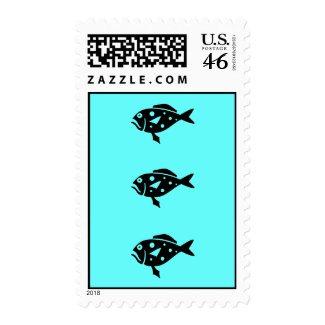 Ocean Glow_Black-on-Aqua Blue Grouper postage stamp
