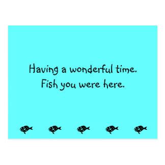 Ocean Glow_Black-on-Aqua Blue Grouper Postcard