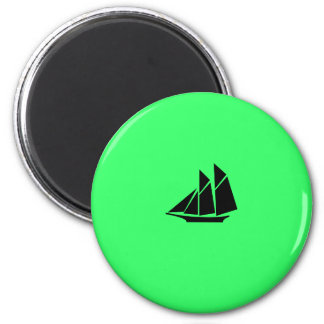 Ocean Glow_Black-on-Green Clipper Refrigerator Magnet