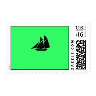 Ocean Glow_Black-on-Green Clipper postage stamp
