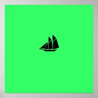 Ocean Glow_Black-on-green Clipper print