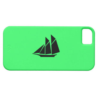 Ocean Glow_Black-on-Green Clipper Ship iPhone 5 Covers