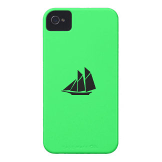 Ocean Glow_Black-on-Green Clipper Ship iPhone 4 Case-Mate Case