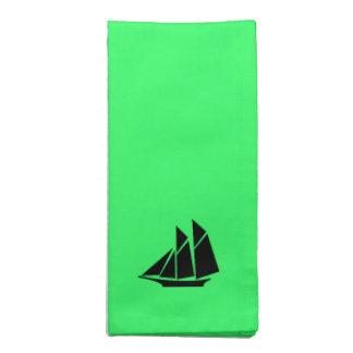 Ocean Glow_Black-on-Green Clipper Ship Cloth Napkin