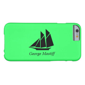 Ocean Glow_Black-on-Green Clipper Ship_personalize Barely There iPhone 6 Case