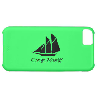 Ocean Glow_Black-on-Green Clipper Ship_personalize iPhone 5C Cover