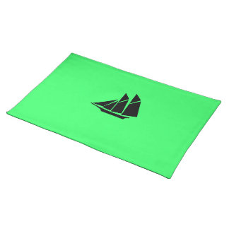 Ocean Glow_Black-on-Green Clipper Ship Placemat