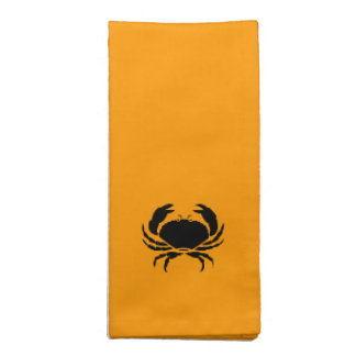 Ocean Glow_Black on Orange Crab Cloth Napkin