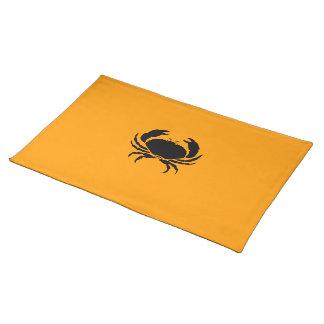 Ocean Glow_Black on Orange Crab Cloth Placemat
