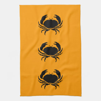 Ocean Glow_Black on Orange Crab Kitchen Towel