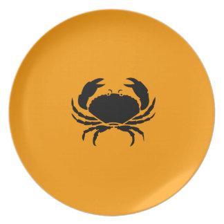 Ocean Glow_Black on Orange Crab Melamine Plate