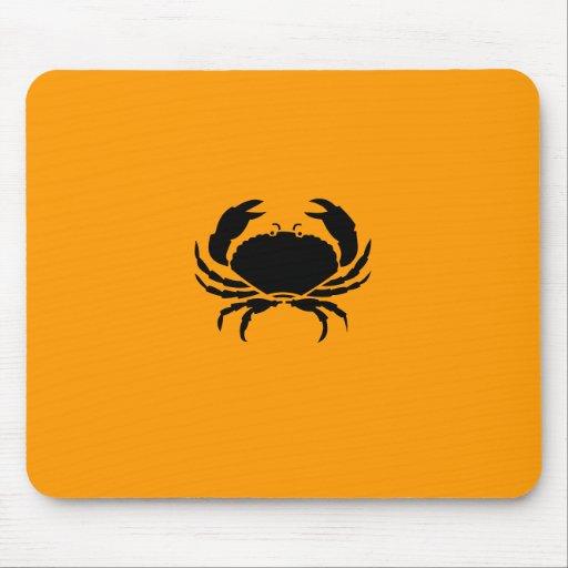 Ocean Glow_Black-on-Orange Crab Mouse Mats