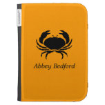 Ocean Glow_Black on Orange Crab_personalized Kindle 3 Cover