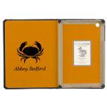 Ocean Glow_Black on Orange Crab_personalized iPad Mini Retina Covers
