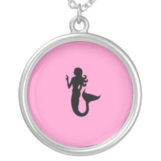 Ocean Glow_Black-on-Pink Mermaid charm pendant