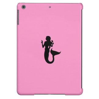 Ocean Glow_Black-on-Pink Mermaid iPad Air Cover