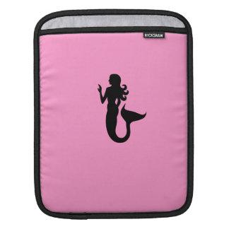 Ocean Glow_Black-on-Pink Mermaid Sleeve For iPads