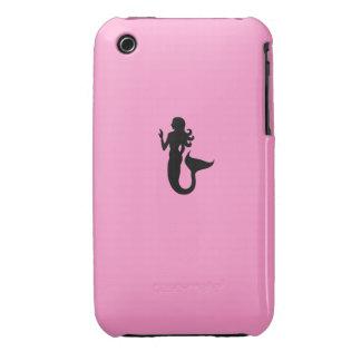 Ocean Glow_Black-on-Pink Mermaid iPhone 3 Case