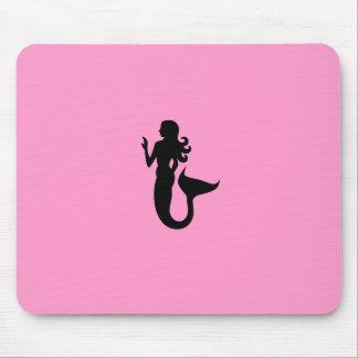 Ocean Glow_Black-on-Pink Mermaid Mouse Pad