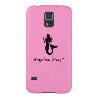 Ocean Glow_Black-on-Pink Mermaid_personalized Galaxy S5 Case