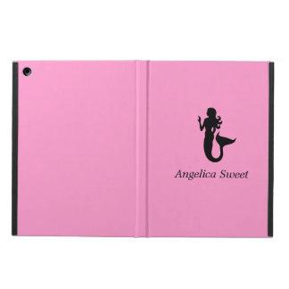 Ocean Glow_Black-on-Pink Mermaid personalized iPad Air Cover