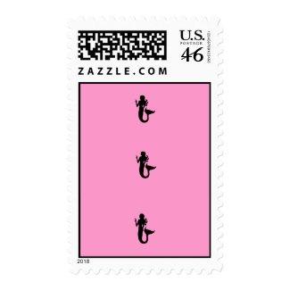Ocean Glow_Black-on-Pink Mermaid postage stamp
