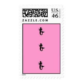Ocean Glow_Black-on-Pink Mermaid postage