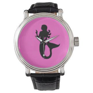 Ocean Glow_Black-on-Pink Mermaid Wristwatches