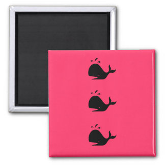 Ocean Glow_black-on-red Whale Refrigerator Magnets