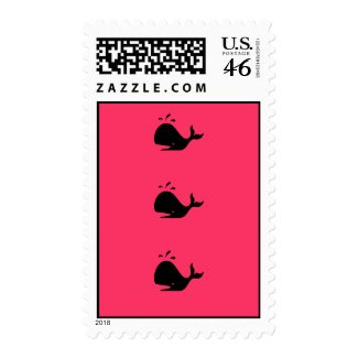 Ocean Glow_black-on-red Whale postage stamp
