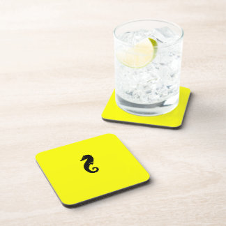 Ocean Glow_Black-on-Yellow Seahorse Beverage Coaster