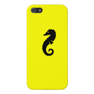 Ocean Glow_Black-on-Yellow Seahorse Case For iPhone SE/5/5s