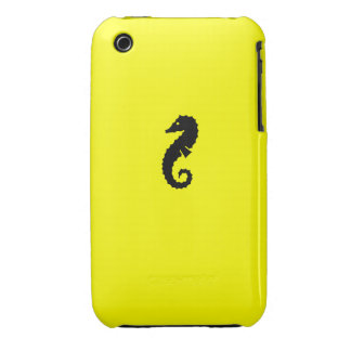 Ocean Glow_Black-on-Yellow Seahorse iPhone 3 Case