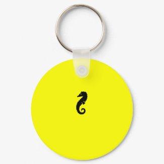 Ocean Glow_Black-on-Yellow Seahorse keychain